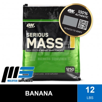 Optimum Nutrition Serious Mass 12lbs - ON Weight & Mass Gain, Muscle Building, Bulking & Sizing