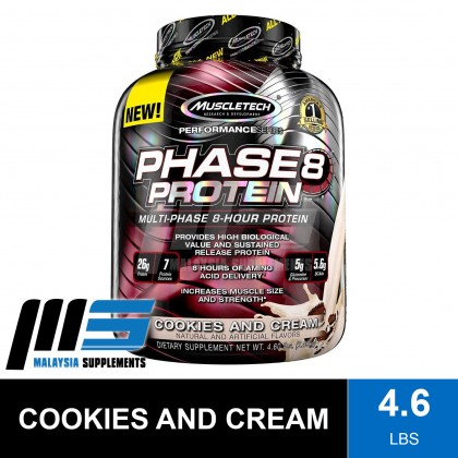 MuscleTech Phase 8, 4.6lbs - Muscle Tech Phase8 Whey Casein, Long Released Protein, Better Muscle Recovery