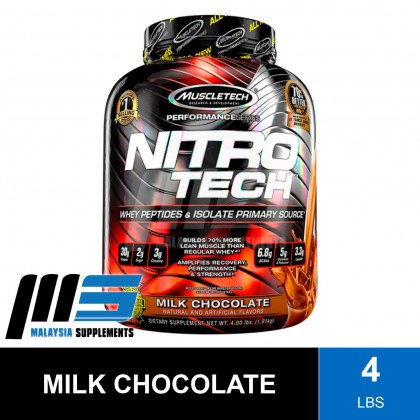 MuscleTech Nitro Tech, 4lbs - Whey Protein Isolate, Fast Muscle Recovery, Lean Muscle, Susu Gym
