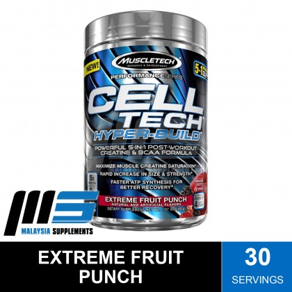 MuscleTech Cell Tech Hyper-Build, 30 Servings - Post Workout, Amino Acids, Glutamine, BCAAs, Instant Muscle Recovery