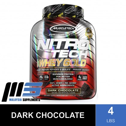 MuscleTech Nitro Tech 100% Whey Gold 4lbs Exclusive Flavor - Muscle Tech NitroTech Whey Protein Isolate, Fast Muscle Recovery & Building, Lean Muscle
